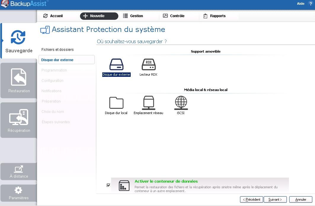 Backup Assist conteneur de données 2